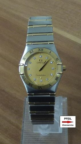 Omega Constellation Lady Stahl /  18k Gelbgold Diamond