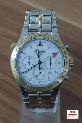 Jaeger-LeCoultre Heraion Stahl / Gold Chronograph Wecker / Alarm